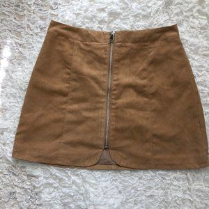 H&M Zip-up Suede A-Line Skirt
